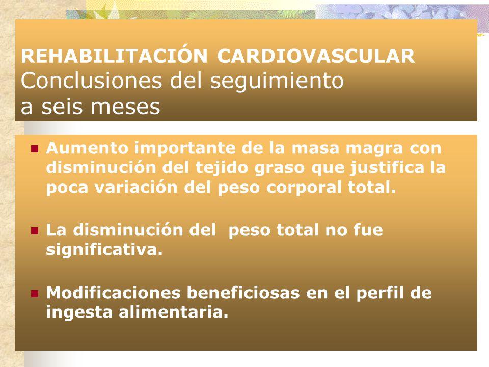 REHABILITACIÓN CARDIOVASCULAR Conclusiones del seguimiento a seis meses