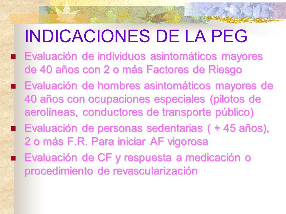 INDICACIONES DE LA PEG Evaluación de individuos asintomáticos mayores de 40 años con 2 o más Factores de Riesgo.