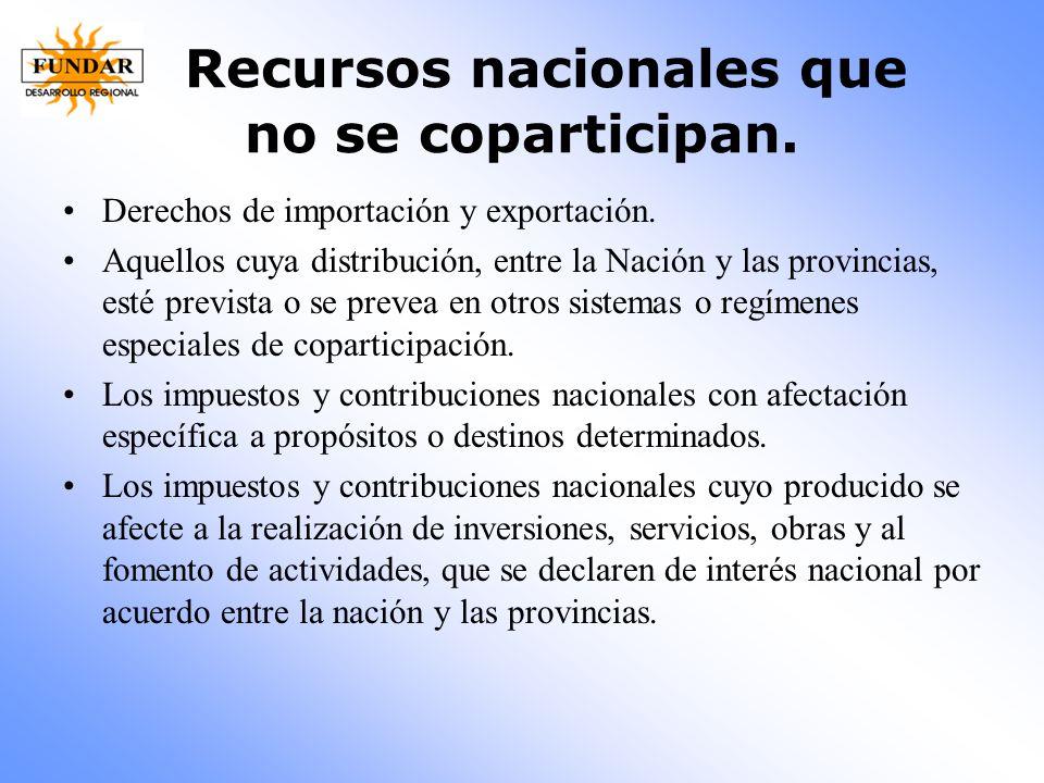 Recursos nacionales que no se coparticipan.