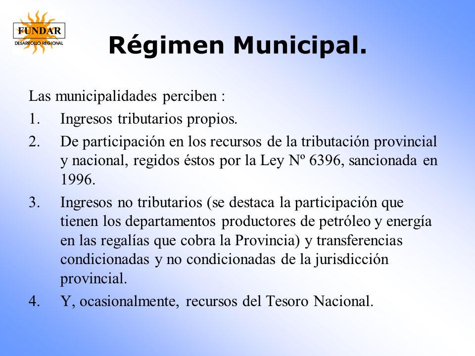 Régimen Municipal. Las municipalidades perciben :