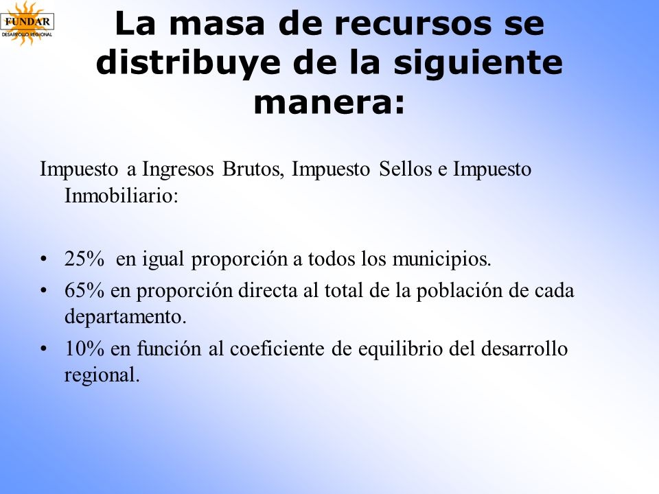 La masa de recursos se distribuye de la siguiente manera:
