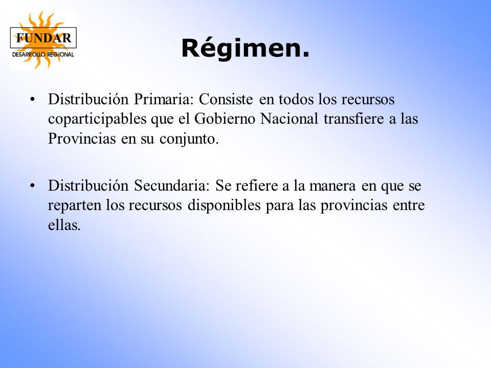 Régimen. Distribución Primaria: Consiste en todos los recursos coparticipables que el Gobierno Nacional transfiere a las Provincias en su conjunto.