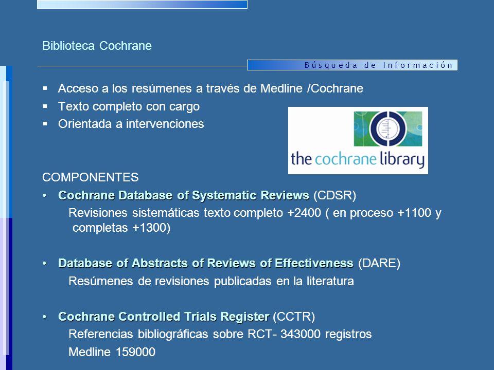 Biblioteca Cochrane Acceso a los resúmenes a través de Medline /Cochrane. Texto completo con cargo.