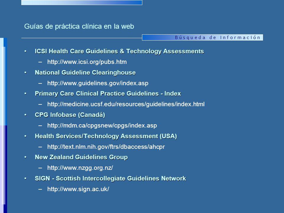 Guías de práctica clínica en la web