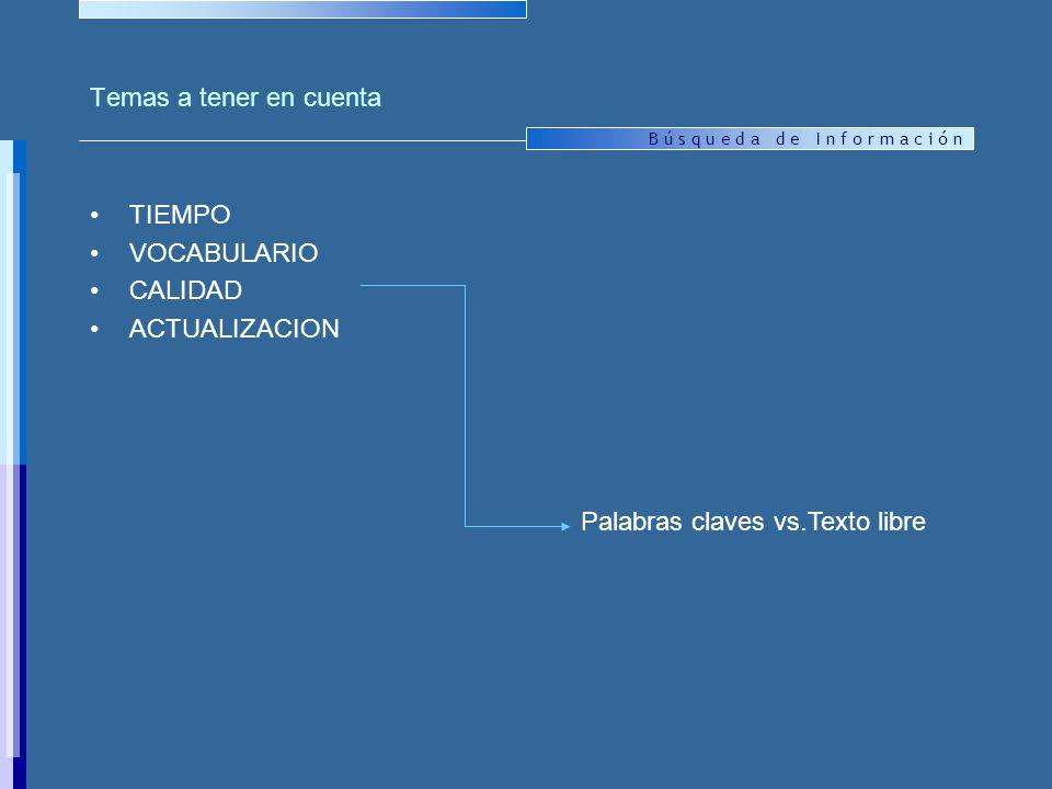 Temas a tener en cuenta TIEMPO VOCABULARIO CALIDAD ACTUALIZACION Palabras claves vs.Texto libre