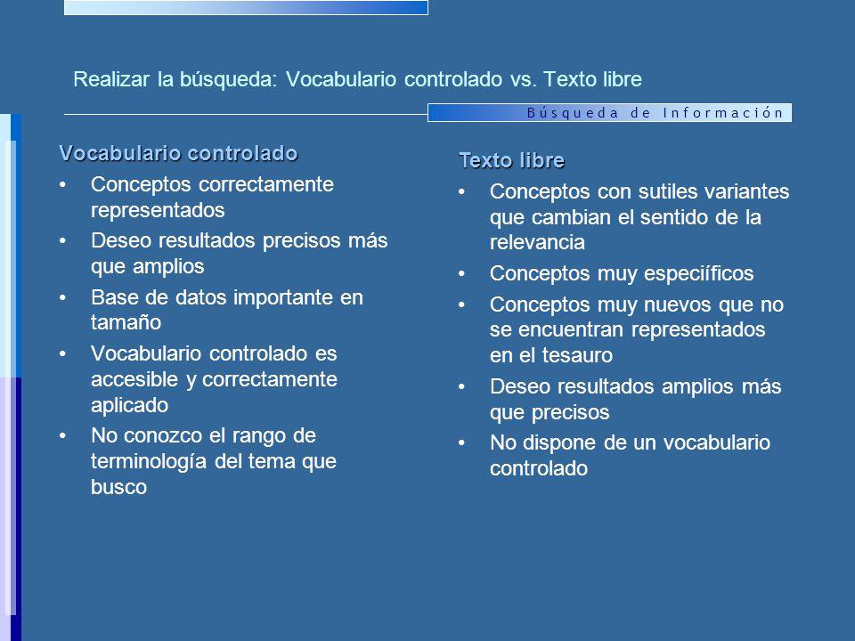 Realizar la búsqueda: Vocabulario controlado vs. Texto libre
