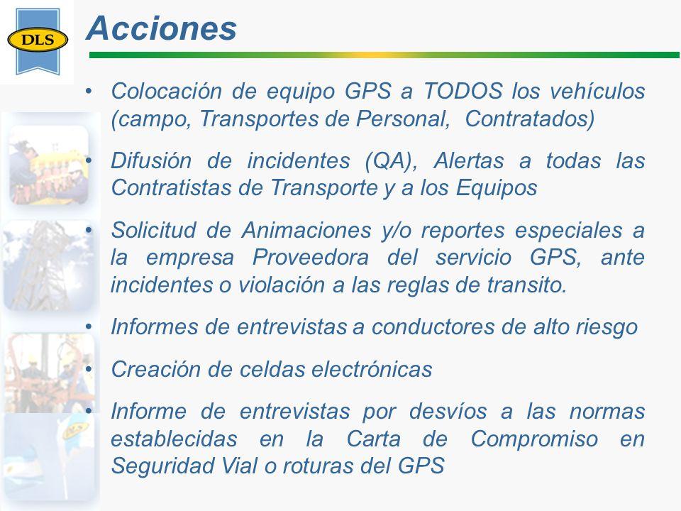 Acciones Colocación de equipo GPS a TODOS los vehículos (campo, Transportes de Personal, Contratados)