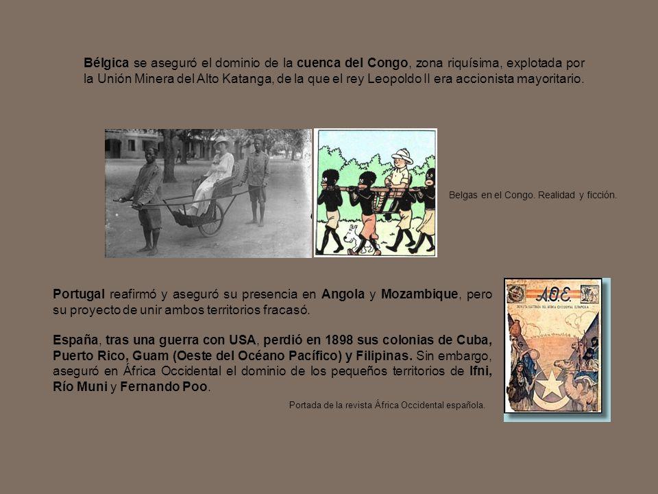 Bélgica se aseguró el dominio de la cuenca del Congo, zona riquísima, explotada por la Unión Minera del Alto Katanga, de la que el rey Leopoldo II era accionista mayoritario.