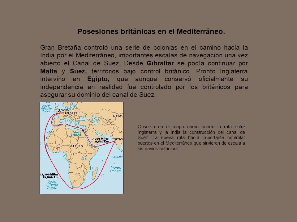 Posesiones británicas en el Mediterráneo.