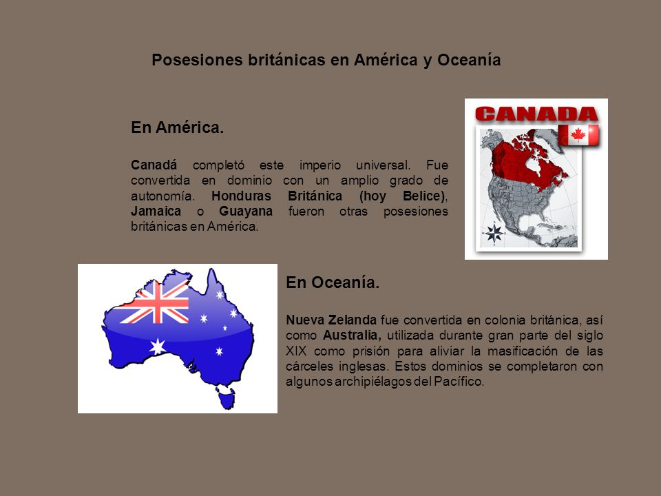 Posesiones británicas en América y Oceanía