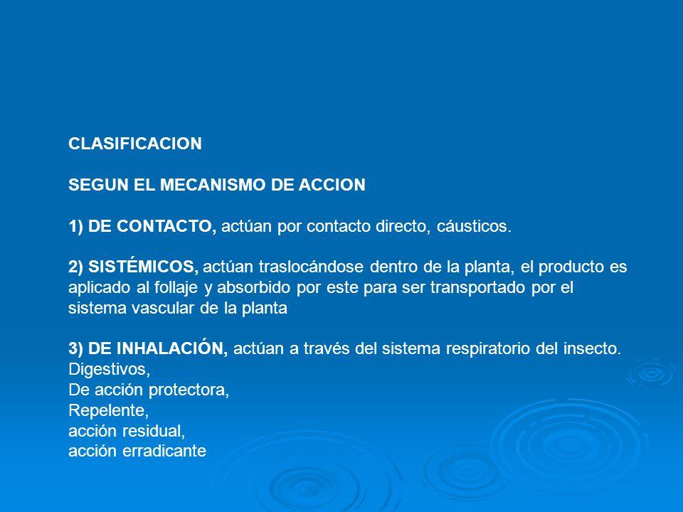 CLASIFICACION SEGUN EL MECANISMO DE ACCION.