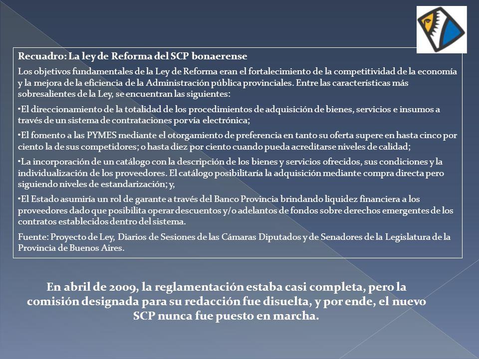 Recuadro: La ley de Reforma del SCP bonaerense