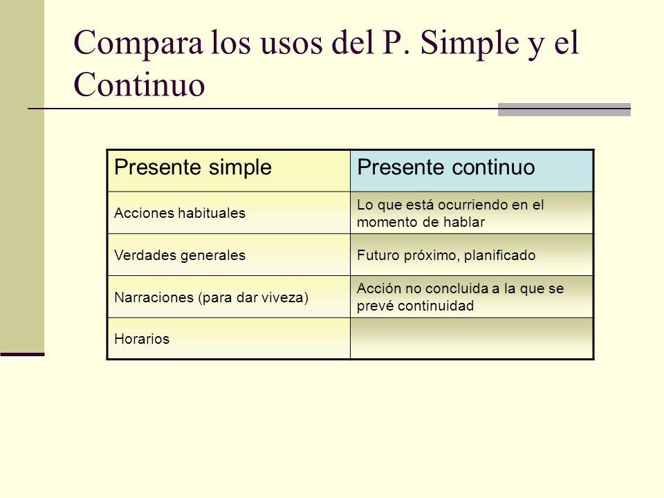 Compara los usos del P. Simple y el Continuo