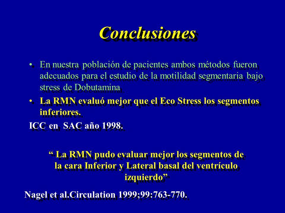 Conclusiones En nuestra población de pacientes ambos métodos fueron adecuados para el estudio de la motilidad segmentaria bajo stress de Dobutamina.