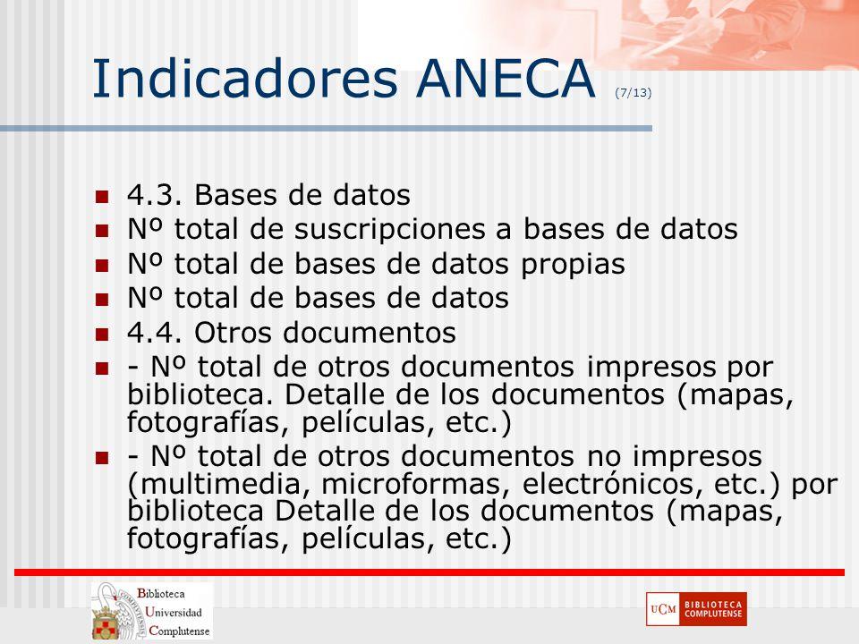 Indicadores ANECA (7/13) 4.3. Bases de datos
