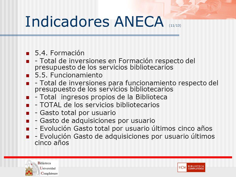 Indicadores ANECA (11/13) 5.4. Formación