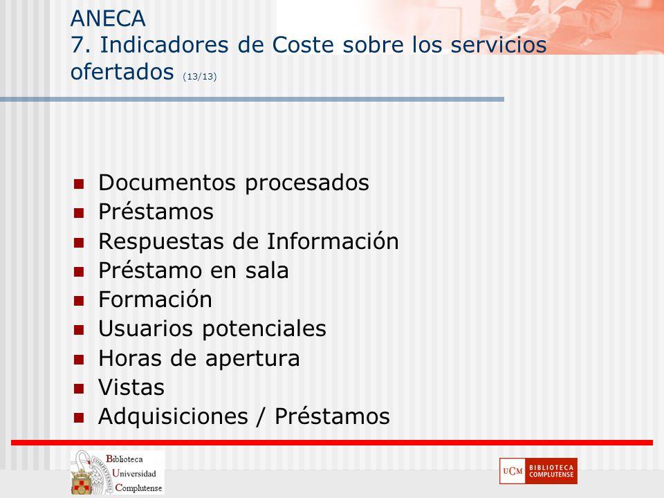 ANECA 7. Indicadores de Coste sobre los servicios ofertados (13/13)
