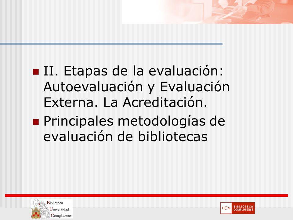 II. Etapas de la evaluación: Autoevaluación y Evaluación Externa