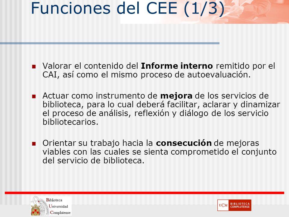 Funciones del CEE (1/3) Valorar el contenido del Informe interno remitido por el CAI, así como el mismo proceso de autoevaluación.