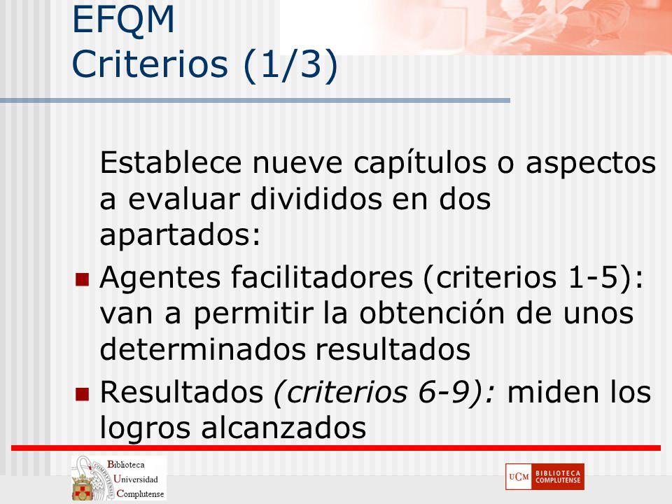 EFQM Criterios (1/3) Establece nueve capítulos o aspectos a evaluar divididos en dos apartados:
