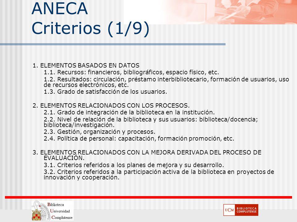 ANECA Criterios (1/9) 1. ELEMENTOS BASADOS EN DATOS