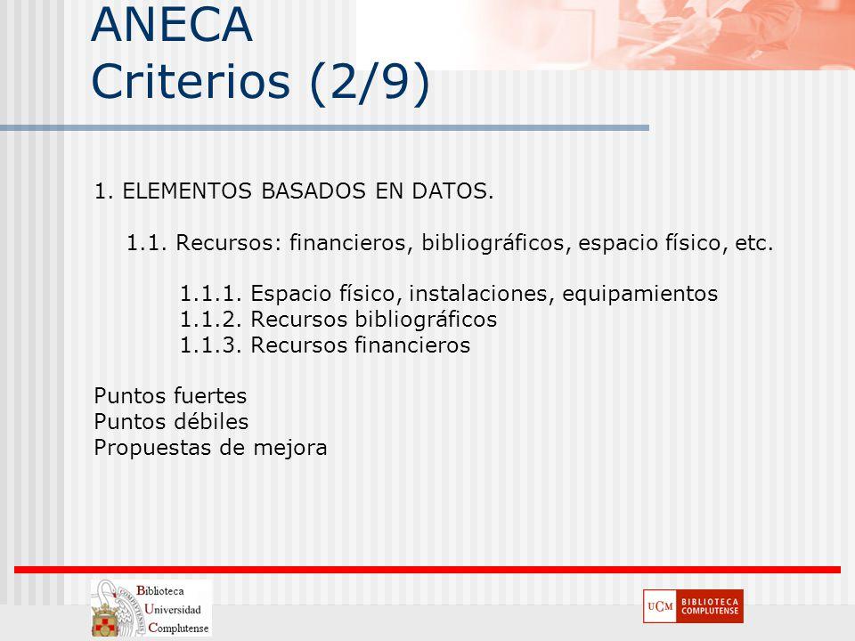 ANECA Criterios (2/9) 1. ELEMENTOS BASADOS EN DATOS.