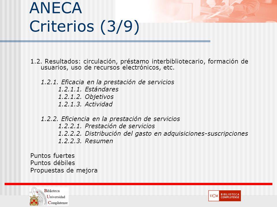 ANECA Criterios (3/9) 1.2. Resultados: circulación, préstamo interbibliotecario, formación de usuarios, uso de recursos electrónicos, etc.