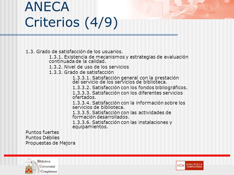 ANECA Criterios (4/9) 1.3. Grado de satisfacción de los usuarios.