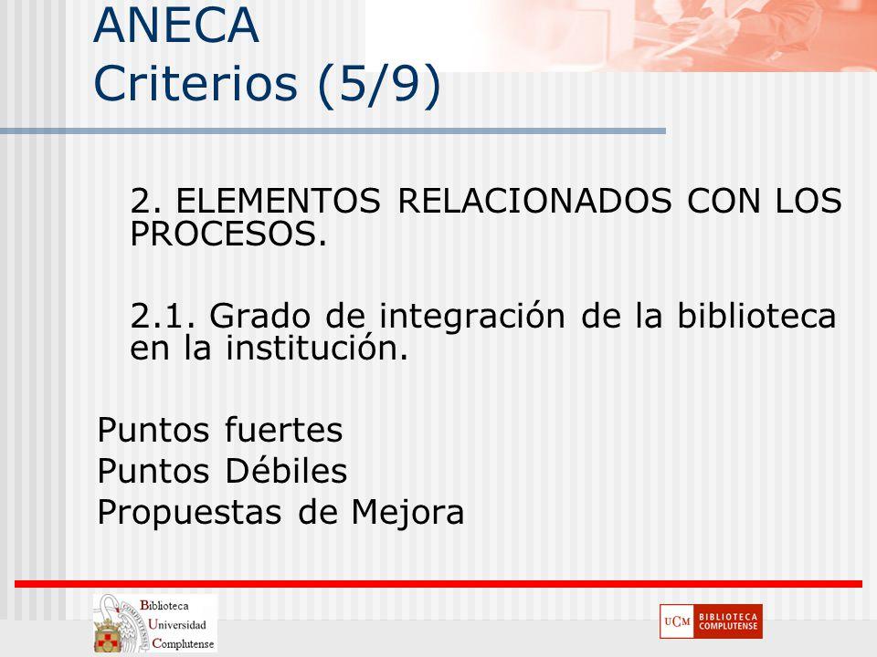 ANECA Criterios (5/9) 2. ELEMENTOS RELACIONADOS CON LOS PROCESOS.
