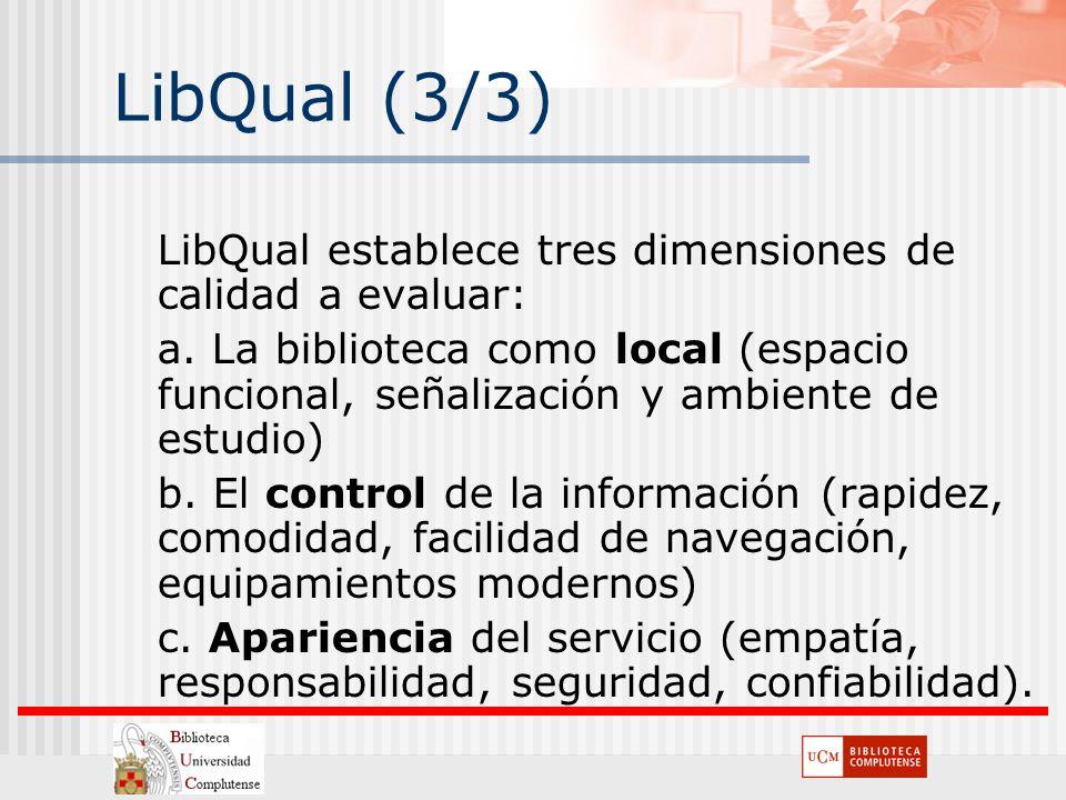 LibQual (3/3) LibQual establece tres dimensiones de calidad a evaluar: