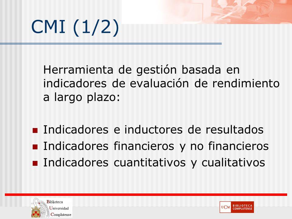 CMI (1/2) Herramienta de gestión basada en indicadores de evaluación de rendimiento a largo plazo: Indicadores e inductores de resultados.