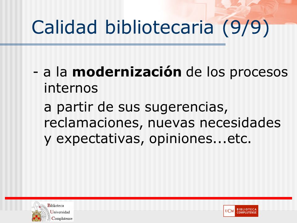 Calidad bibliotecaria (9/9)