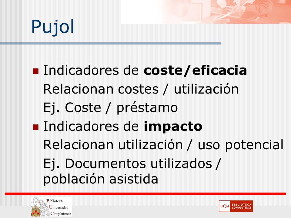 Pujol Indicadores de coste/eficacia Relacionan costes / utilización