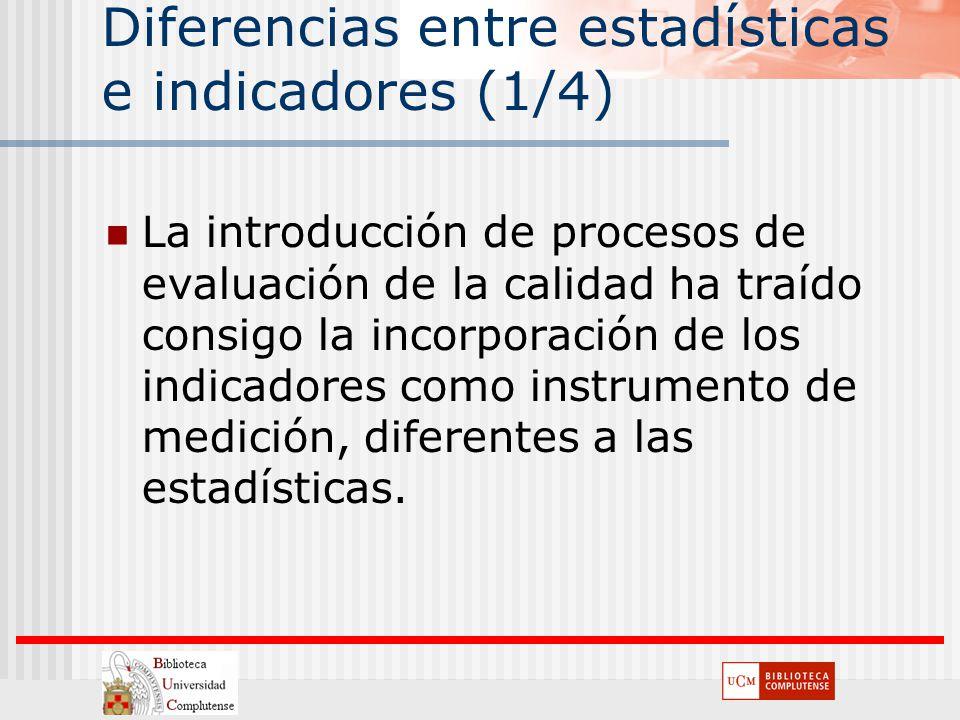 Diferencias entre estadísticas e indicadores (1/4)
