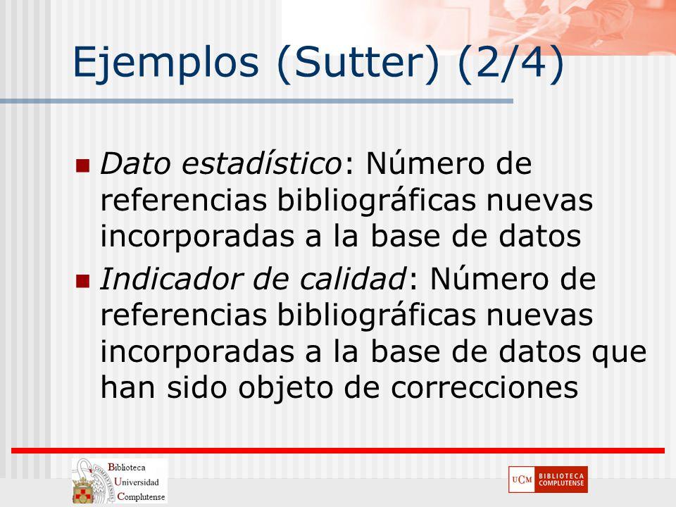 Ejemplos (Sutter) (2/4) Dato estadístico: Número de referencias bibliográficas nuevas incorporadas a la base de datos.