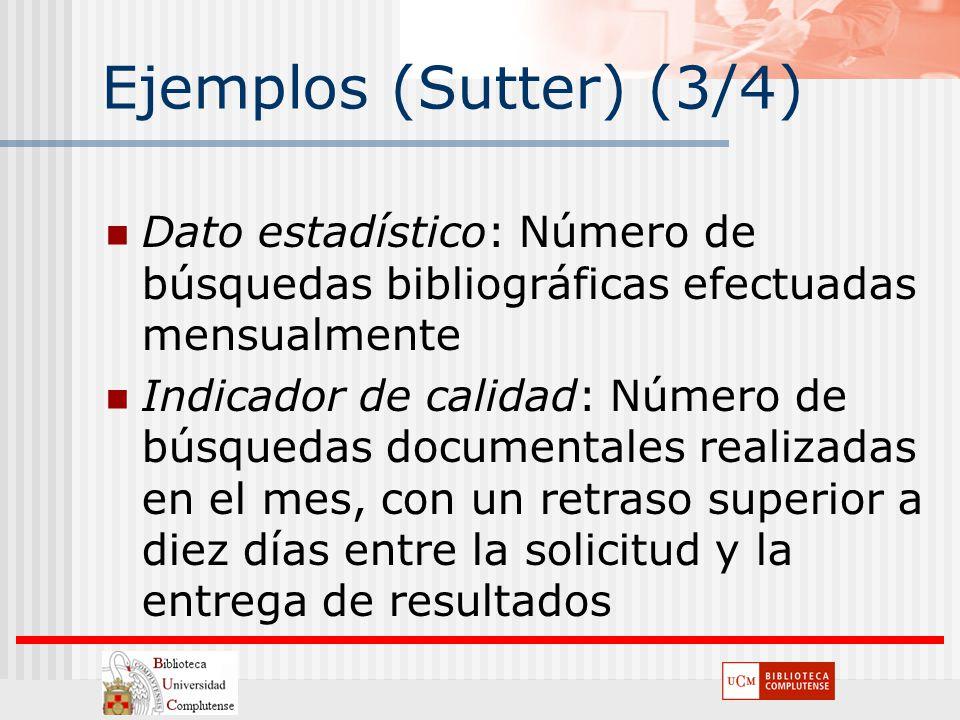 Ejemplos (Sutter) (3/4) Dato estadístico: Número de búsquedas bibliográficas efectuadas mensualmente.
