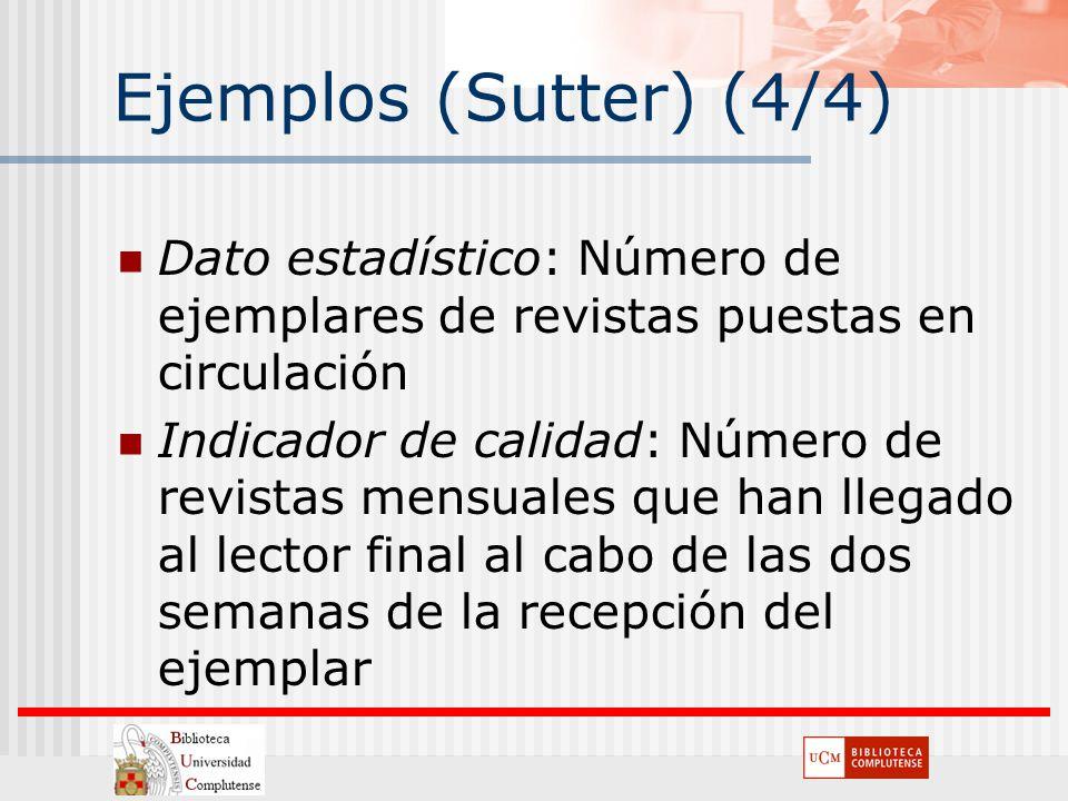 Ejemplos (Sutter) (4/4) Dato estadístico: Número de ejemplares de revistas puestas en circulación.