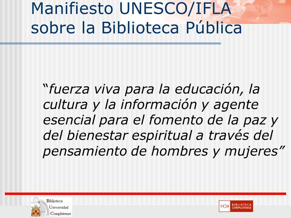 Manifiesto UNESCO/IFLA sobre la Biblioteca Pública