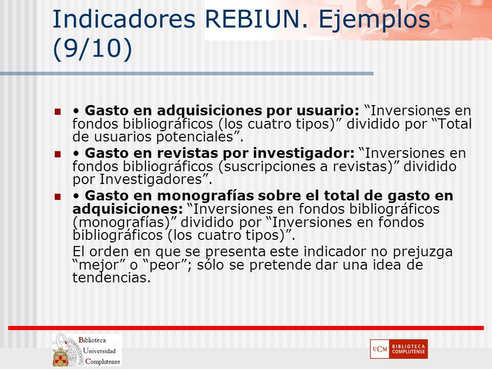 Indicadores REBIUN. Ejemplos (9/10)