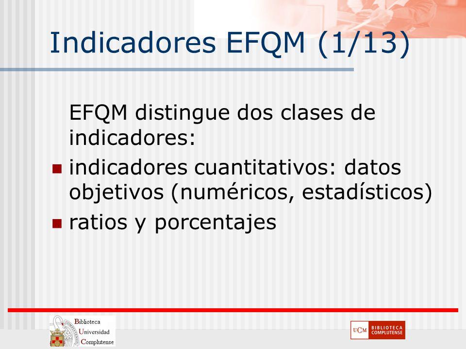 Indicadores EFQM (1/13) EFQM distingue dos clases de indicadores: