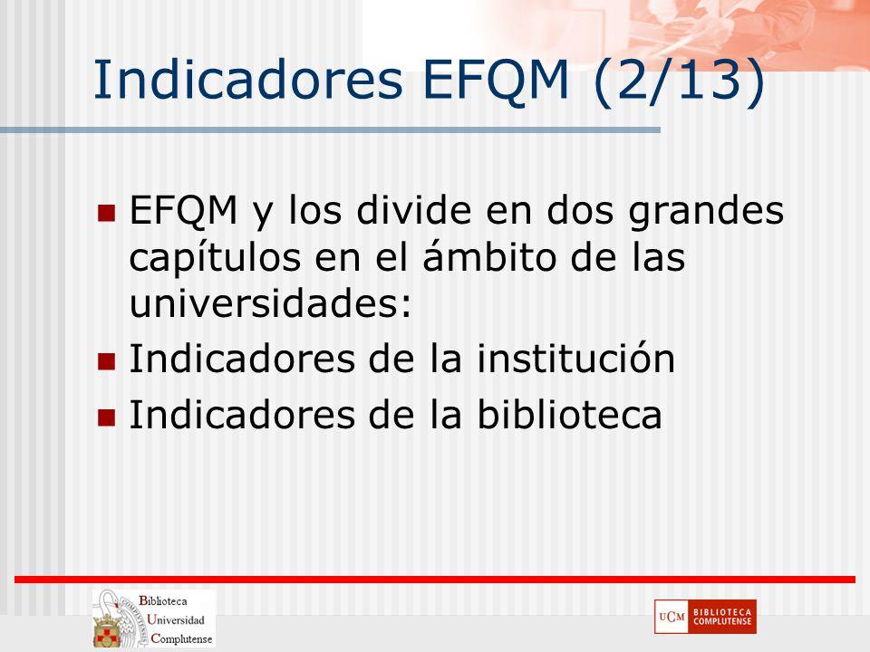 Indicadores EFQM (2/13) EFQM y los divide en dos grandes capítulos en el ámbito de las universidades: