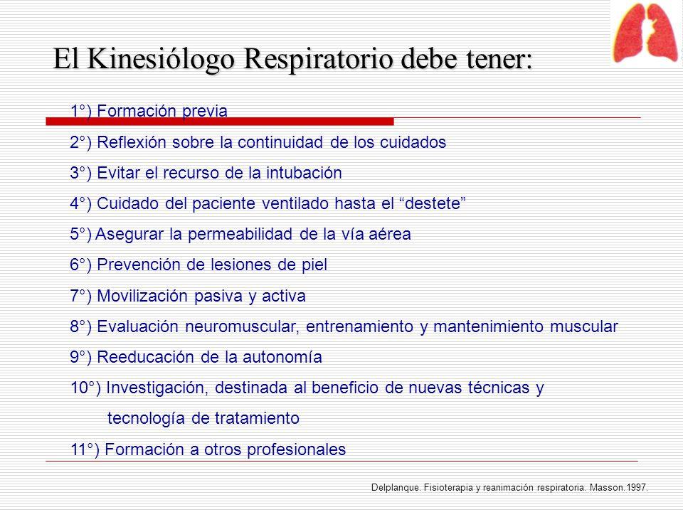 El Kinesiólogo Respiratorio debe tener:
