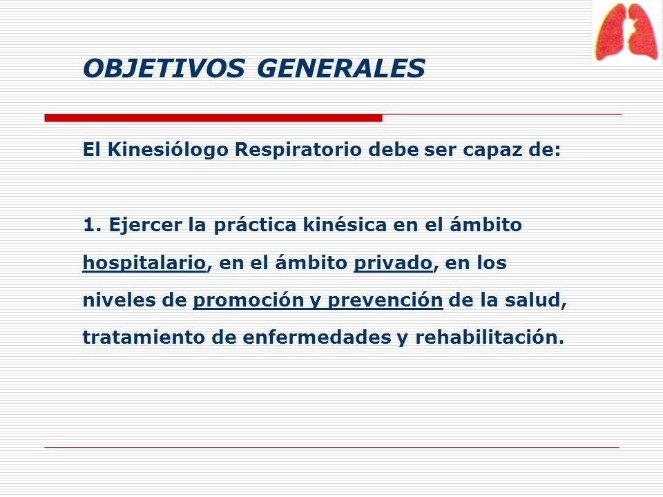 OBJETIVOS GENERALES El Kinesiólogo Respiratorio debe ser capaz de: