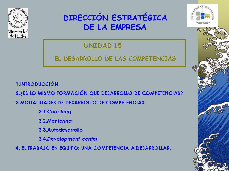 DIRECCIÓN ESTRATÉGICA EL DESARROLLO DE LAS COMPETENCIAS