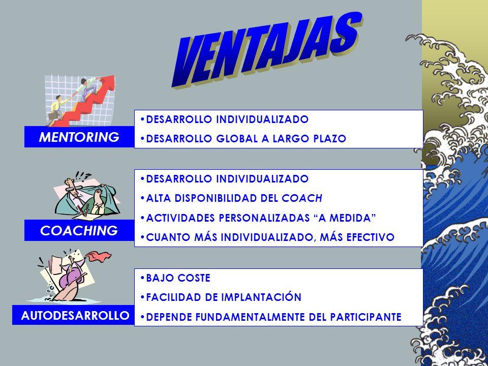 VENTAJAS MENTORING COACHING AUTODESARROLLO DESARROLLO INDIVIDUALIZADO