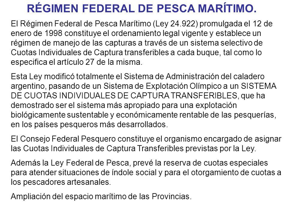 RÉGIMEN FEDERAL DE PESCA MARÍTIMO.
