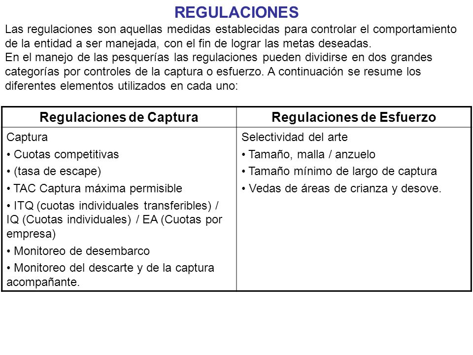 Regulaciones de Captura Regulaciones de Esfuerzo