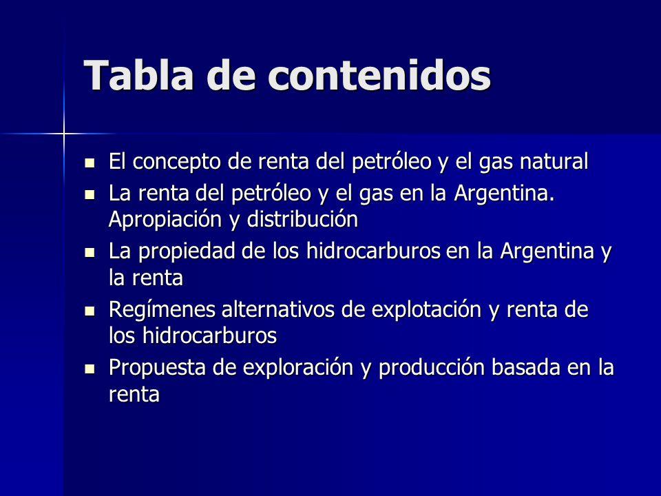 Tabla de contenidos El concepto de renta del petróleo y el gas natural