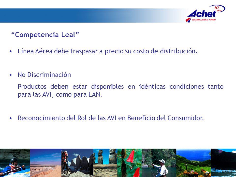 Competencia Leal Línea Aérea debe traspasar a precio su costo de distribución. No Discriminación.