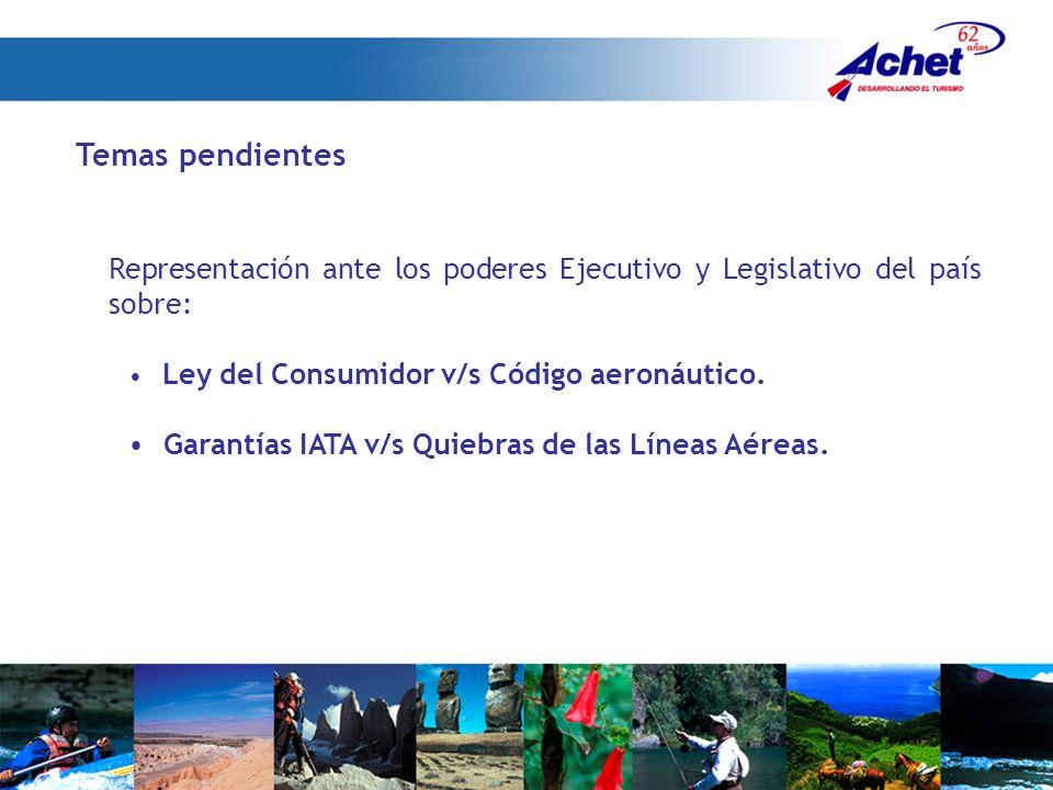 Temas pendientes Representación ante los poderes Ejecutivo y Legislativo del país sobre: Ley del Consumidor v/s Código aeronáutico.